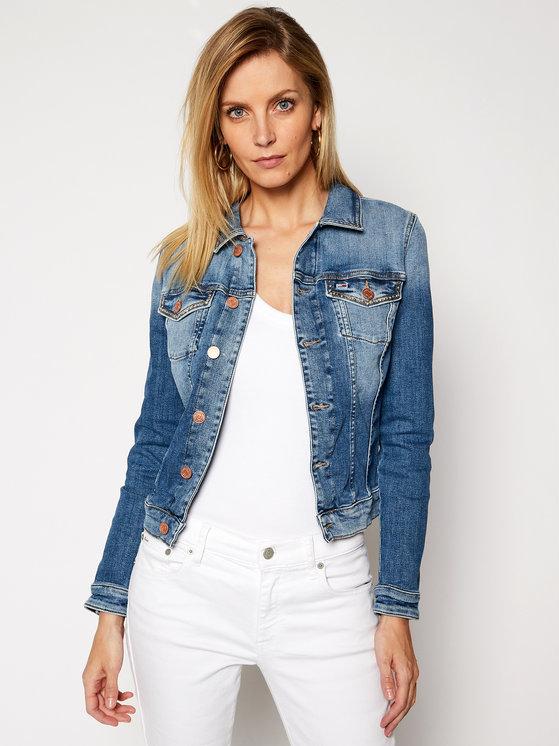 Kurtka Tommy Jeans z jeansu krótka w młodzieżowym stylu