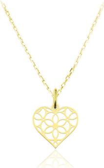 Lian Art Srebrny naszyjnik z ażurowym sercem - 24k złocenie