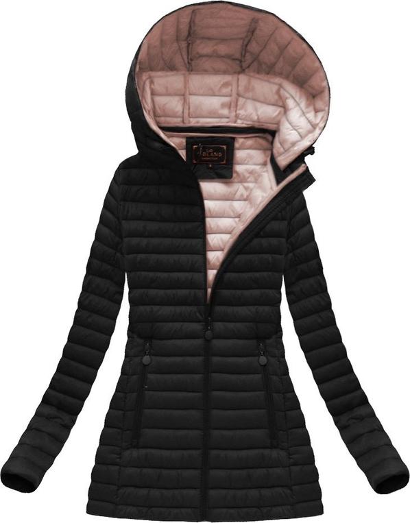 Libland pikowana kurtka z kapturem czarna (7218big)