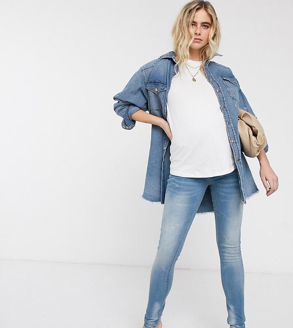 Mama Licious Mamalicious – Dopasowane jeansy-Szary