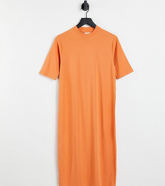 Mama Licious Mamalicious Maternity – Dżersejowa sukienka midi z zabudowanym dekoltem z bawełny organicznej w kolorze brzoskwiniowym-Pomarańczowy