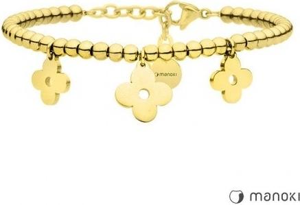 Manoki BA634G złota bransoletka damska, kwiat, koniczyna