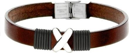Manoki BA730A brązowa bransoletka męska z symbolem X LEATHER