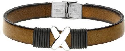 Manoki BA730E brązowa bransoletka męska z symbolem X LEATHER
