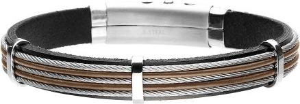 Manoki BA760A męska bransoletka brązowa z linkami