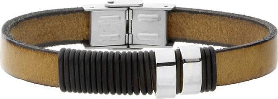Manoki Bransoletka męska skórzana w stylu minimalistycznym, jasny brąz