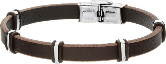 Manoki Brązowa bransoletka męska ze skóry, stalowe ozdoby minimalistyczne