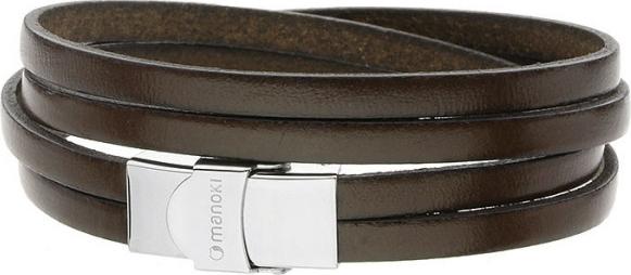Manoki Skórzana bransoletka dla mężczyzn, ciemny brąz