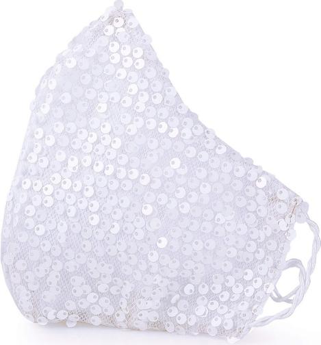 Maseczka ochronna ślubna Cekiny Białe QART Elegance