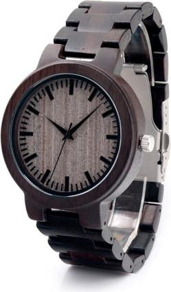 Męski, ciemnobrązowy zegarek drewniany BOBO BIRD na bransolecie