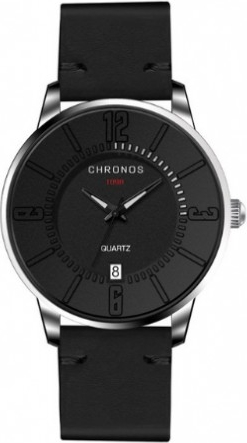 Męski zegarek CHRONOS na czarnym pasku