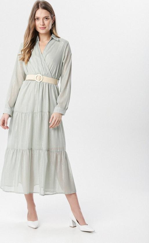Miętowa sukienka born2be z długim rękawem maxi