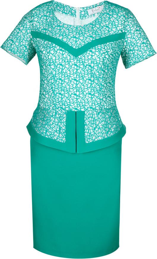 Miętowa sukienka Fokus midi w stylu klasycznym z dzianiny