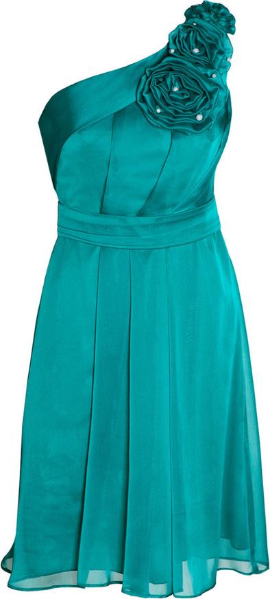 Miętowa sukienka Fokus z szyfonu z asymetrycznym dekoltem mini