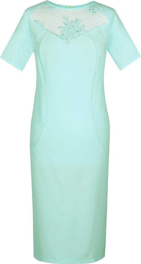 Miętowa sukienka Fokus z tkaniny z okrągłym dekoltem ołówkowa