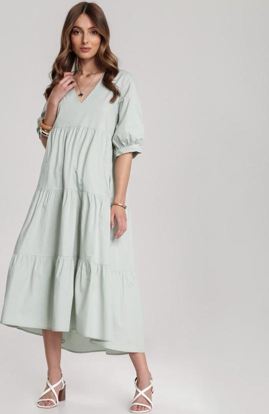 Miętowa sukienka Renee koszulowa