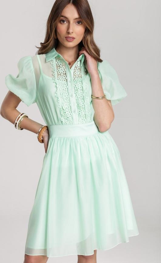 Miętowa sukienka Renee z krótkim rękawem