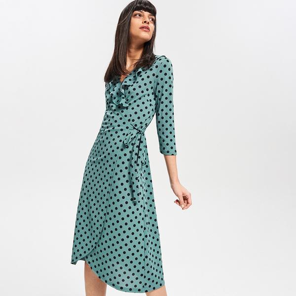 Miętowa sukienka Reserved z długim rękawem midi