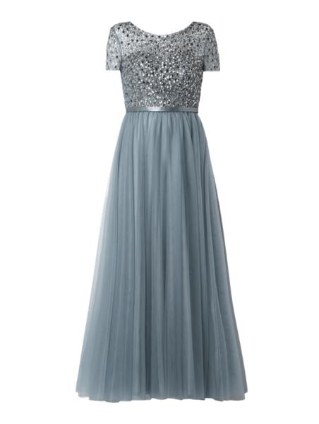Miętowa sukienka Unique rozkloszowana maxi z tiulu