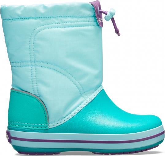 Miętowe buty dziecięce zimowe Crocs