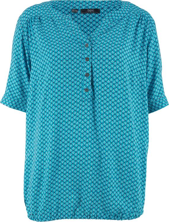 Niebieska bluzka bonprix bpc bonprix collection z krótkim rękawem w geometryczne wzory