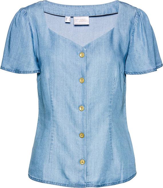 Niebieska bluzka bonprix w stylu casual z krótkim rękawem
