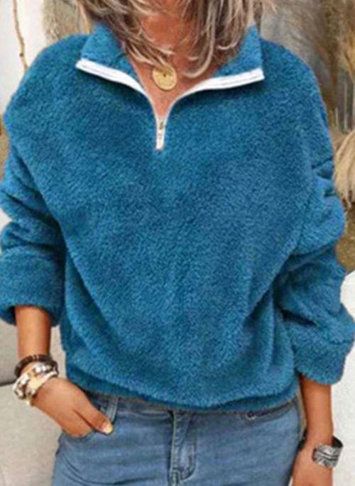 Niebieska bluzka Cikelly z dekoltem w kształcie litery v