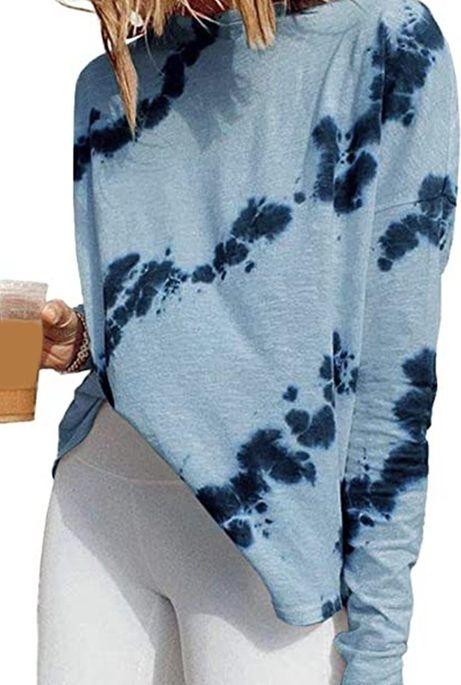 Niebieska bluzka Cikelly z okrągłym dekoltem z długim rękawem
