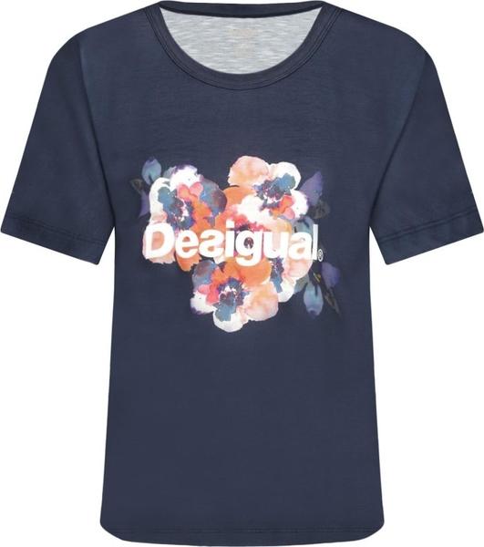 Niebieska bluzka Desigual Sport w młodzieżowym stylu