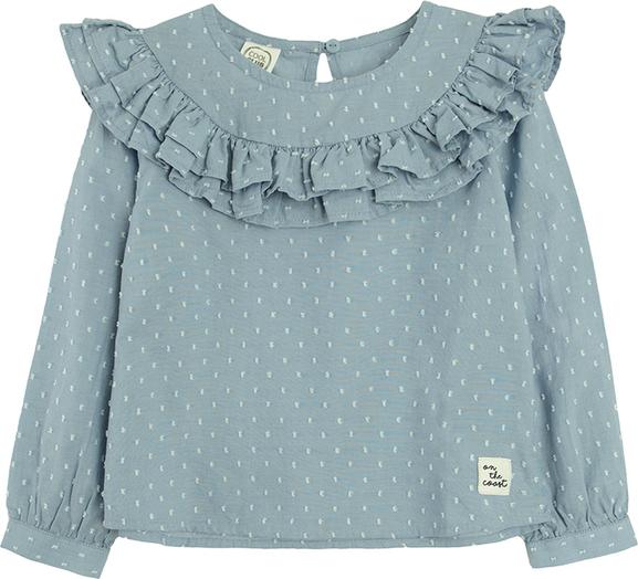 Niebieska bluzka dziecięca Cool Club z bawełny z długim rękawem w groszki