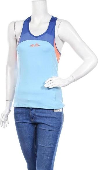 Niebieska bluzka Ellesse w sportowym stylu z bawełny z okrągłym dekoltem