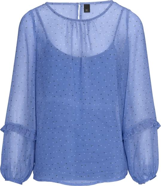 Niebieska bluzka Heine z szyfonu z długim rękawem