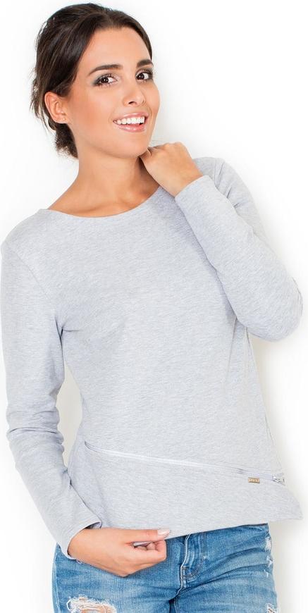 Niebieska bluzka Katrus z długim rękawem w stylu casual z bawełny