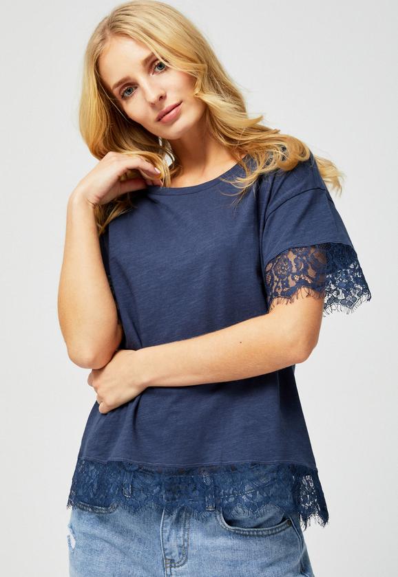 Niebieska bluzka Moodo w stylu casual z krótkim rękawem z okrągłym dekoltem