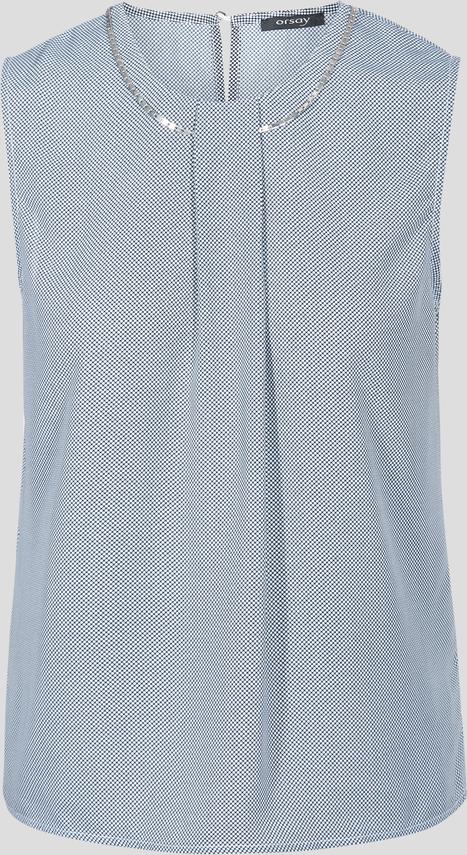 Niebieska bluzka orsay z aplikacją