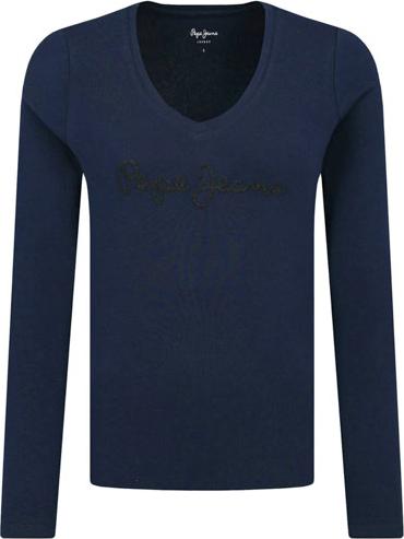 Niebieska bluzka Pepe Jeans z okrągłym dekoltem z długim rękawem