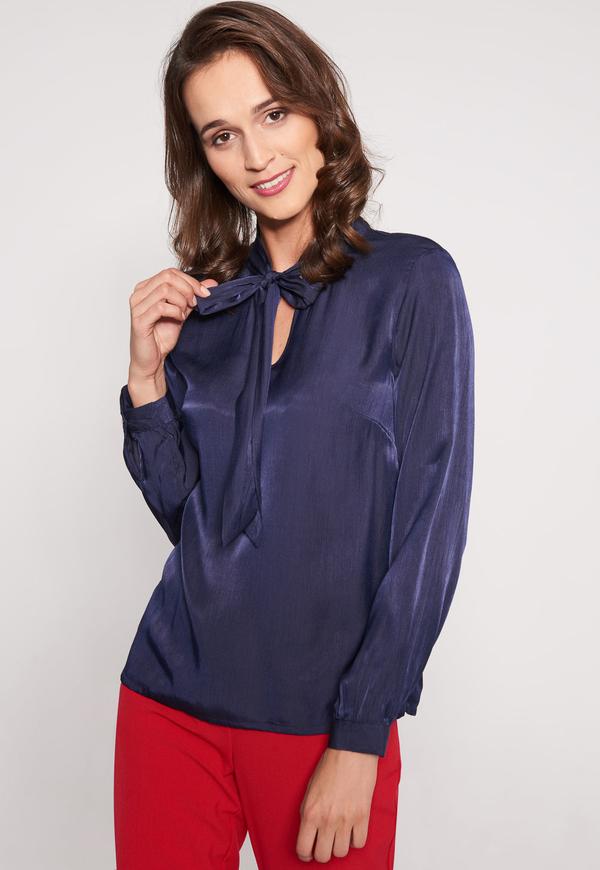 Niebieska bluzka QUIOSQUE z długim rękawem