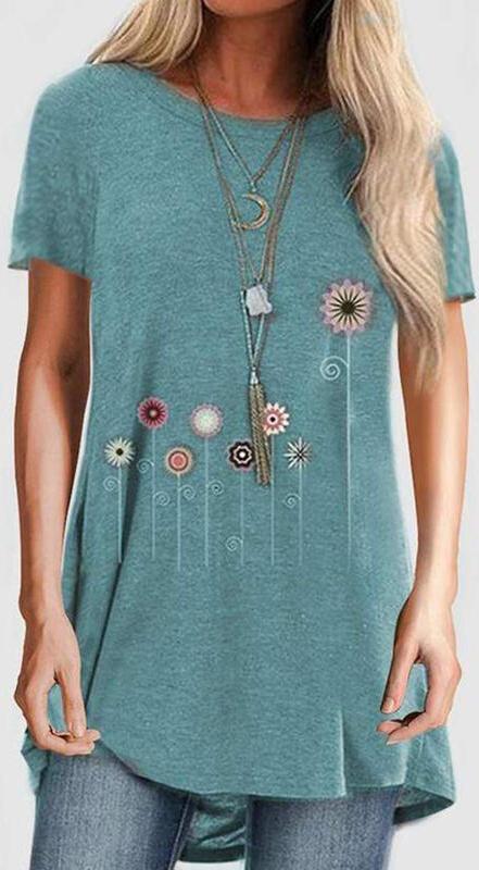 Niebieska bluzka Sandbella z okrągłym dekoltem z szyfonu