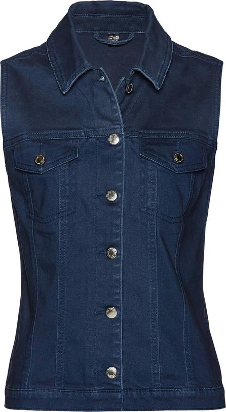 Niebieska kamizelka bonprix bpc selection krótka w stylu casual