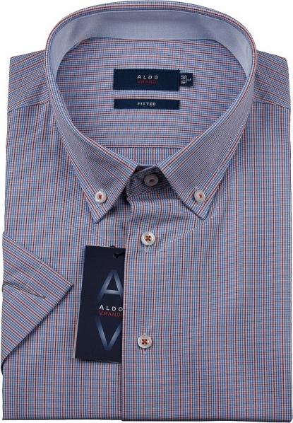 Niebieska koszula Aldo Vrandi w stylu casual z krótkim rękawem