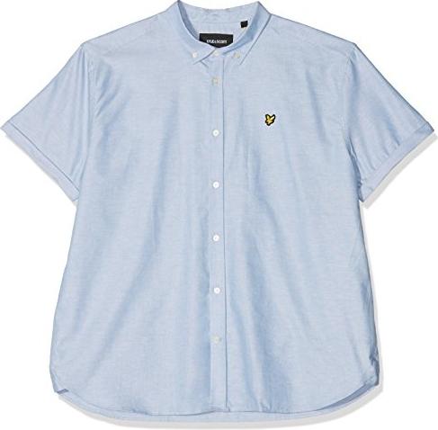 Niebieska koszula amazon.de z kołnierzykiem button down z krótkim rękawem