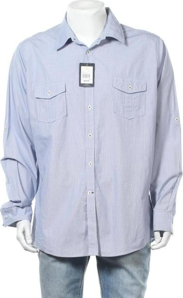 Niebieska koszula Blazer w stylu casual z bawełny
