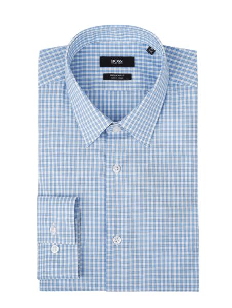 Niebieska koszula Boss z długim rękawem z bawełny z klasycznym kołnierzykiem