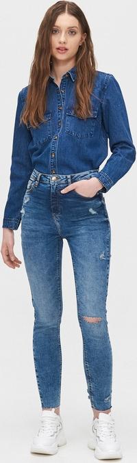 Niebieska koszula Cropp z długim rękawem z jeansu w stylu casual