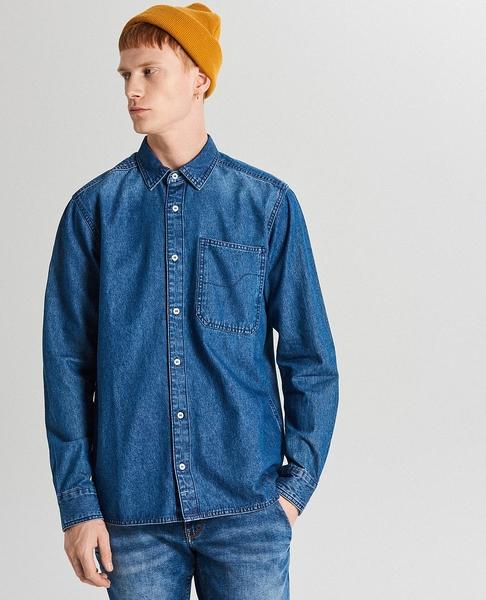 Niebieska koszula Cropp z długim rękawem z klasycznym kołnierzykiem