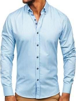 Niebieska koszula Denley z bawełny z długim rękawem