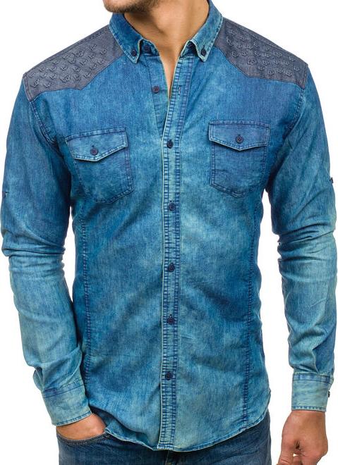 Niebieska koszula Denley z długim rękawem w street stylu