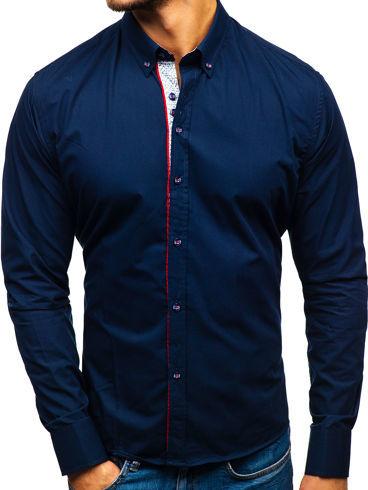 Niebieska koszula Denley z długim rękawem z bawełny