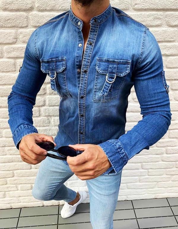 Niebieska koszula Dstreet z bawełny z długim rękawem ze stójką