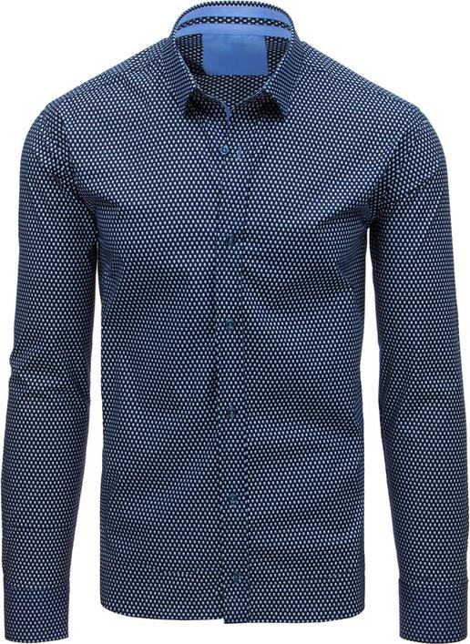Niebieska koszula Dstreet z bawełny z klasycznym kołnierzykiem z długim rękawem
